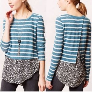 Anthro Postmark Teal Striped Mixed Media Sweater L
